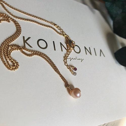 Collar perla rosa / Oro laminado