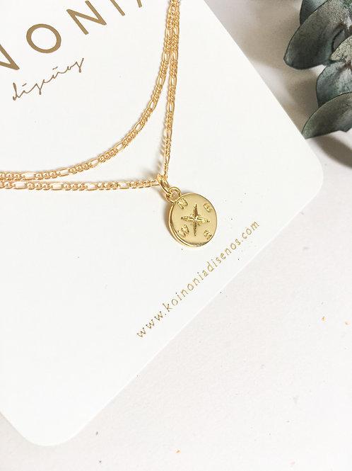Collar DOBLE AJUSTABLES flor de los vientos / Oro lamino de 18k