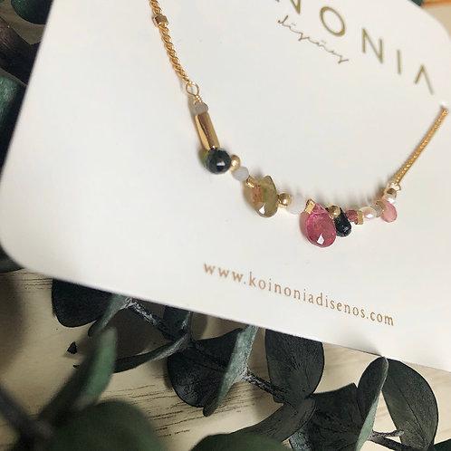 Linea con gotas de gemas / Oro laminado 18k