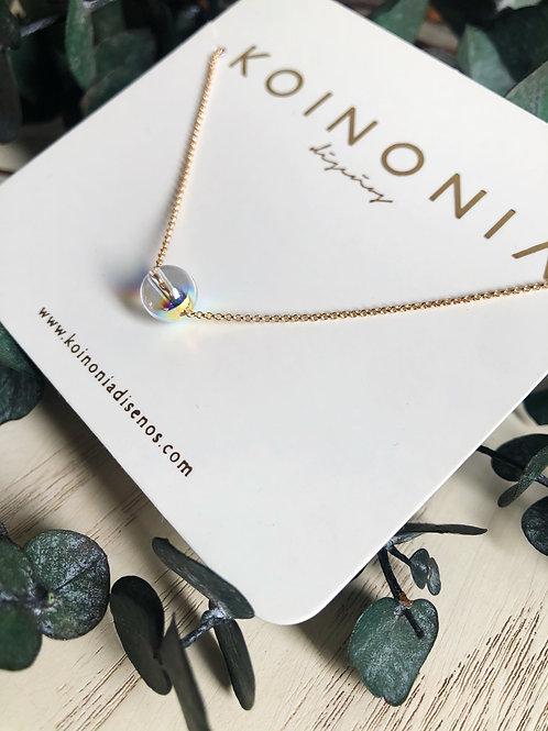 Collar esfera cristal swarovski / Oro laminado 18k
