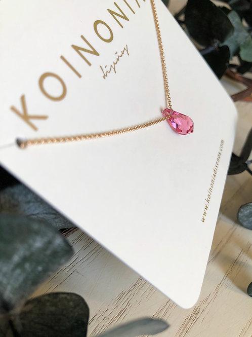 Collar gota rosa facetada cristal swarovski / Oro lamino de 18k