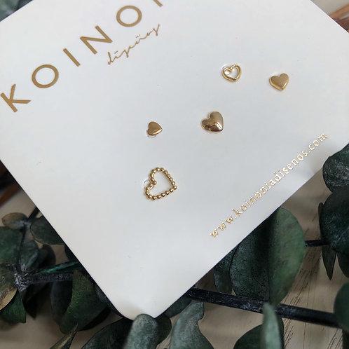 SET corazones  / Oro 10k