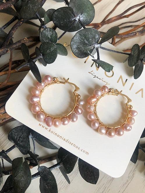 Arracada AURORA perlas rosadas / Oro laminado