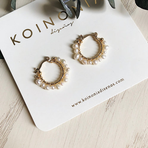 Arracada ESTELA perlas diversas / Oro laminado