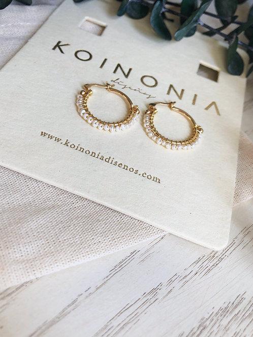 Arracada AURORA mini perlas / Oro laminado