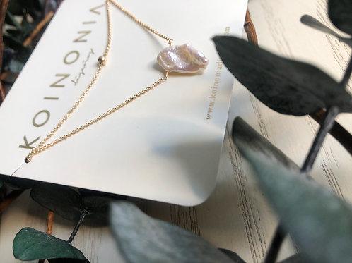 Duo de collares con perla barroca / Oro laminado de 18k