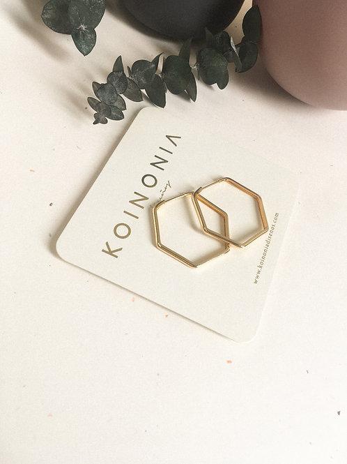 Arracada hexagonal   - / Oro laminado 18k
