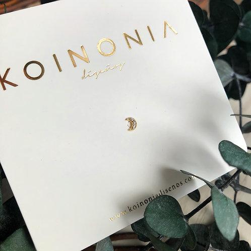 Broquel luna zirconias / oro 10k