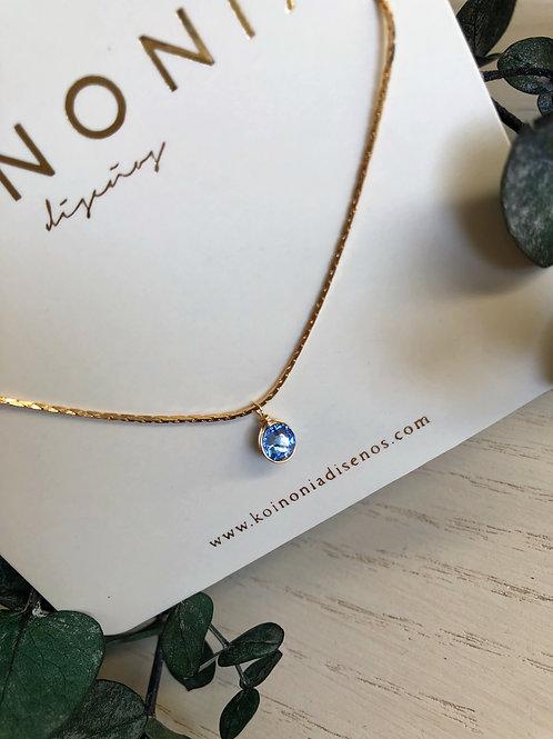 Collar cristal swarovski AZUL / Oro lamino de 18k