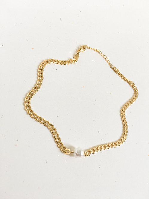 Collar PERLA BARROCA - eslabón mediano / Oro lamino de 18k