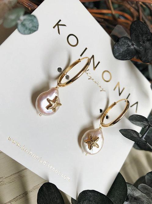 Arracada AMBER perla y estrella de mar / Oro laminado