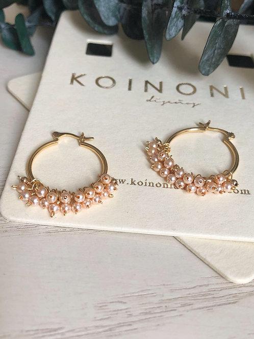 Arracada AURORA perlas rosas (swarovski)/ Oro laminado