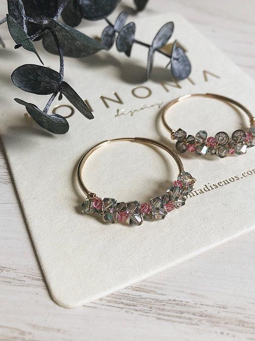 Arracada AMBER cristales gris y rosa (swarovski)/ Oro laminado