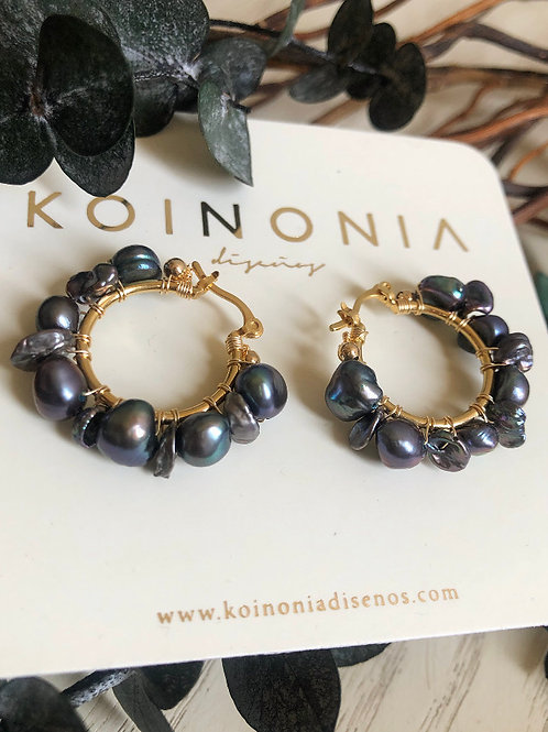 Arracada AURORA perlas azules / Oro laminado