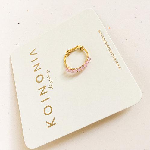 Anillo AJUSTABLE zirconia rosa  / Oro laminado
