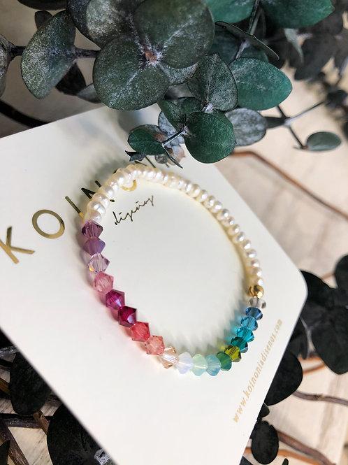 Pulsera rainbow cristales swarovski / Oro laminado 18k