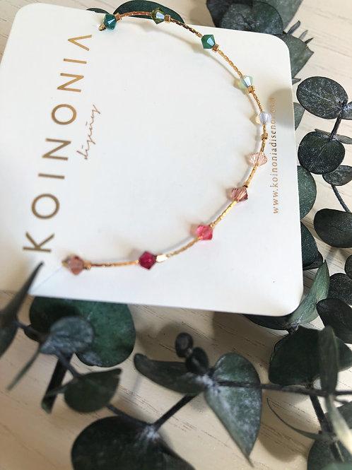 Collar combinación de cristales swarovski / Oro lamino de 18k