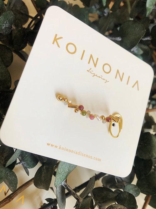 Gemas y perlas ( Earcuff ) / Oro laminado 18k