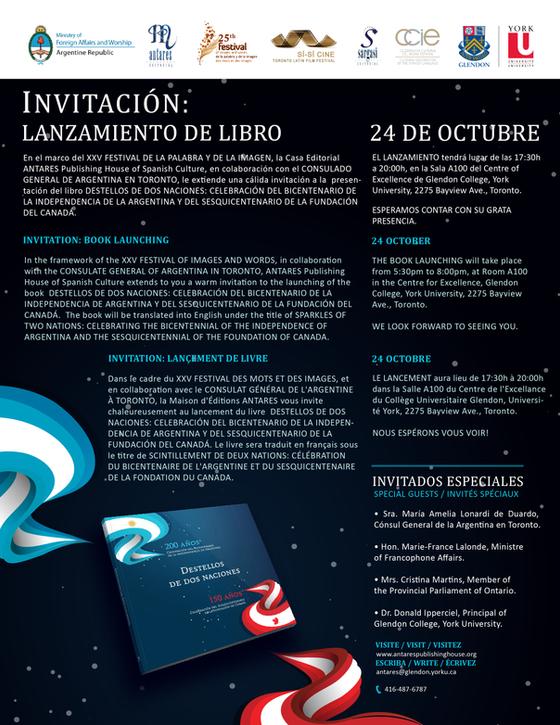Invitación: Lanzamiento de Libro - Destello de Dos Naciones
