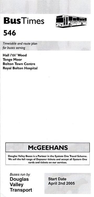 Bus Timetable leaflet for Douglas Valley service 546 - April 2005