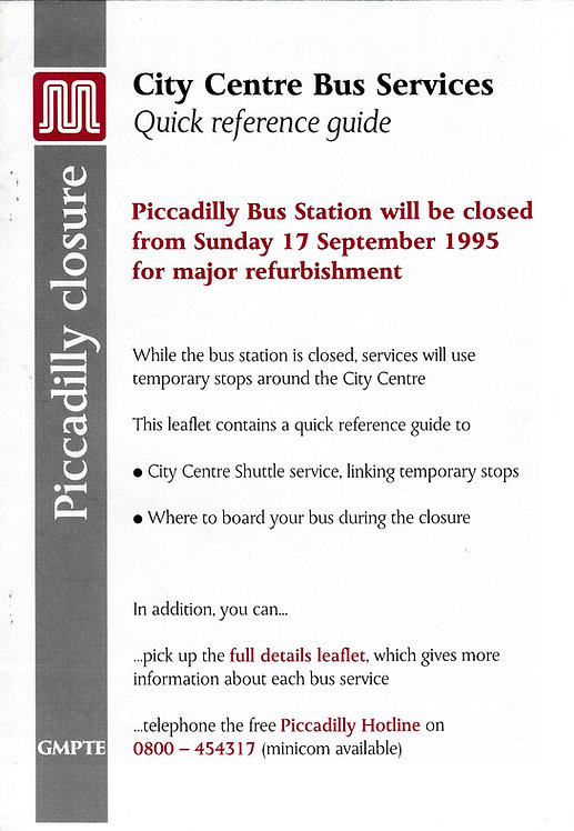 GMPTE - Piccadilly Bus Station closure - 1995