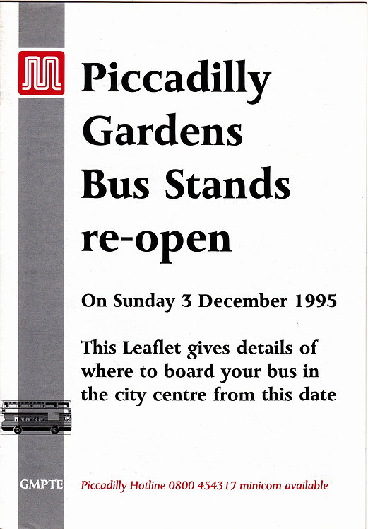 GMPTE - Piccadilly Gardens Bus Stands opening - 1995