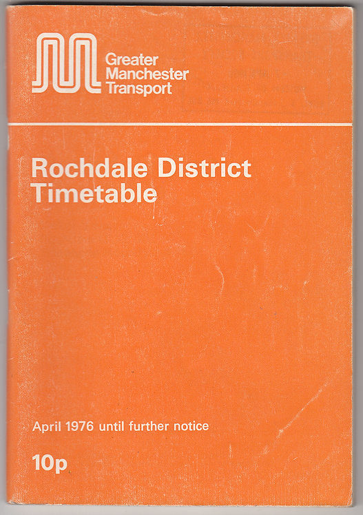 Greater Manchester Transport Timetable - Rochdale - April 1976