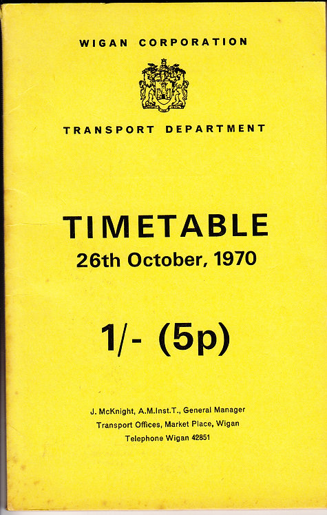 Wigan Corporation Timetable - October 1970