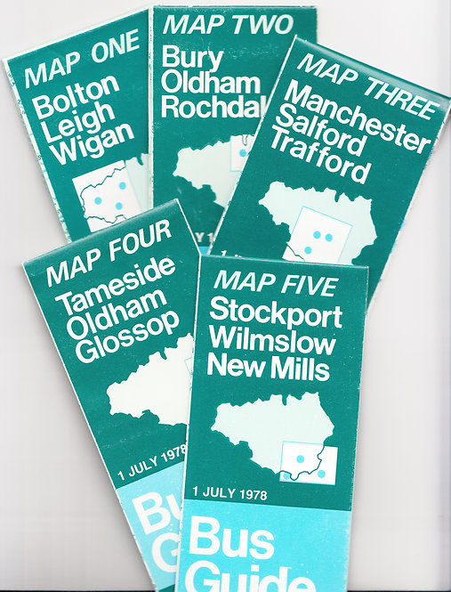 Greater Manchester Transport Maps (set of 5) - 1978