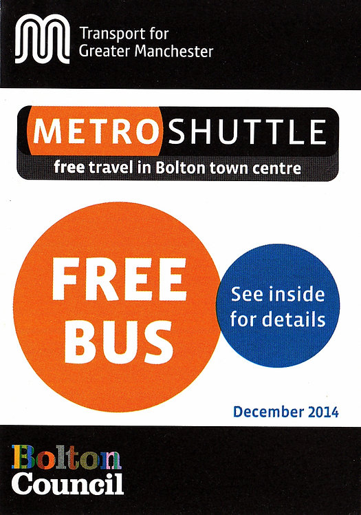 TfGM - Metroshuttle services for Bolton - December 2014