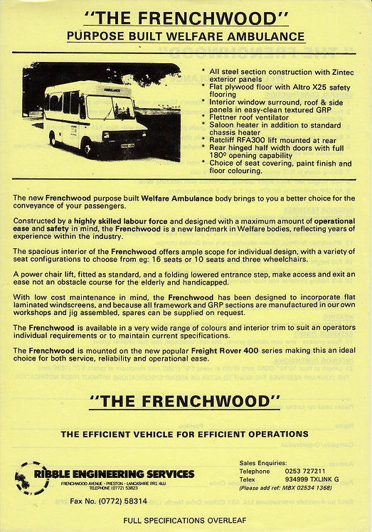 Manufacturer's Brochure - The Frenchwood