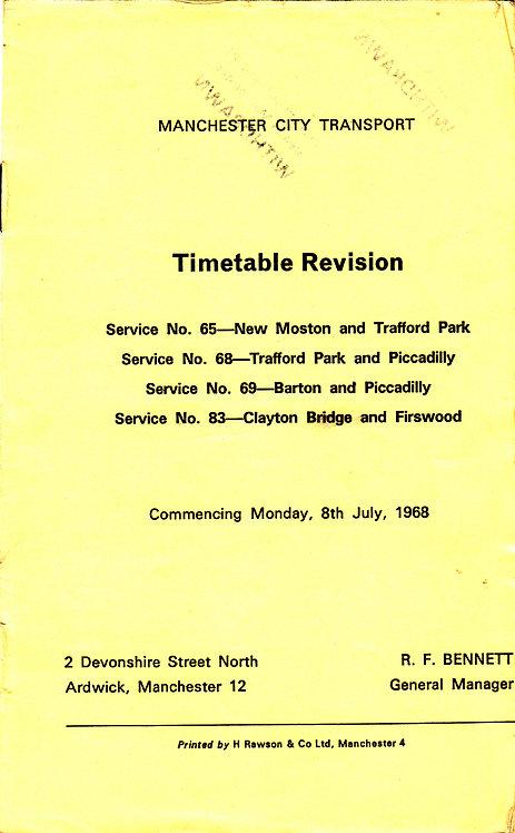 Manchester City Transport Timetable Revision Leaflet - July 1968