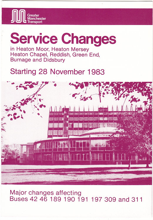 Greater Manchester Transport Revision Booklet - SE Manchester - November 1983