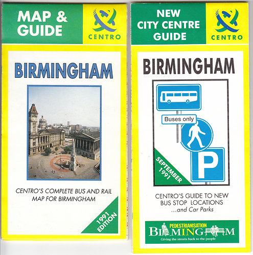 Centro - Birmingham Bus Map - 1991