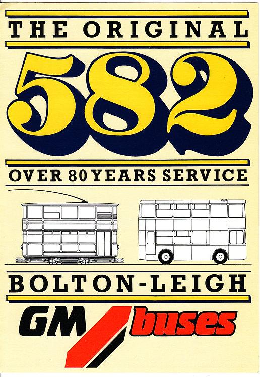Bus Timetable Leaflet - GM Buses Service 582 - 1987
