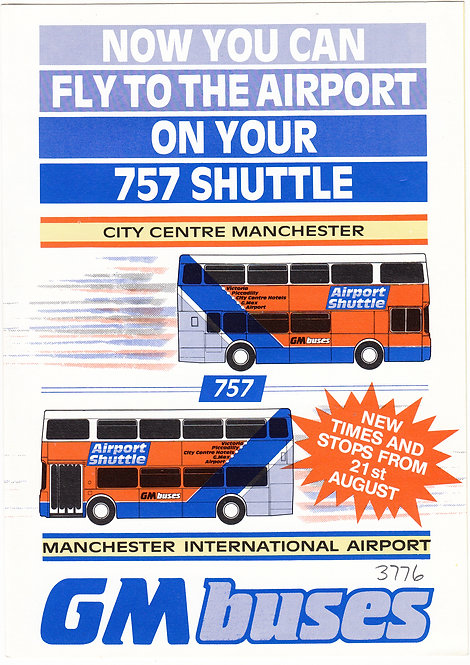 Bus Timetable Leaflet - GM Buses Service 757 - August 1988