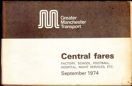 Greater Manchester Transport - Faretable - Central - September 1974