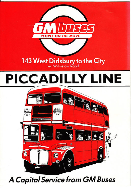 Bus Timetable Leaflet - GM Buses service 143  featuring Routemaster