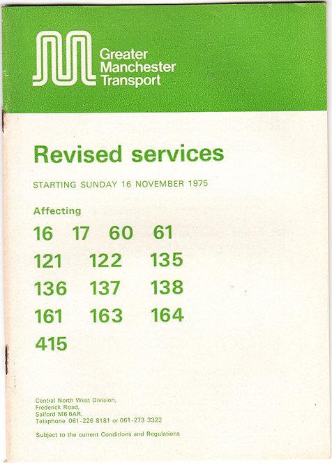Greater Manchester Transport Revision Booklet - Middleton area - November 1975