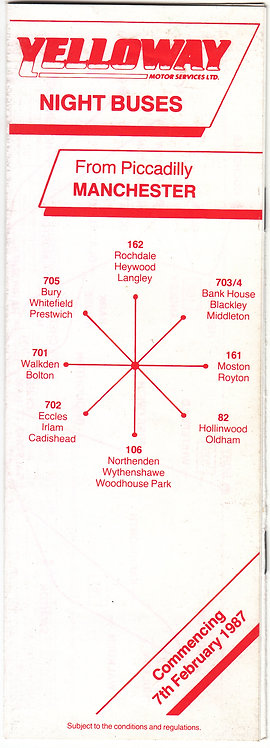 Bus Timetable Leaflet - Yelloway Night Services - February 1987