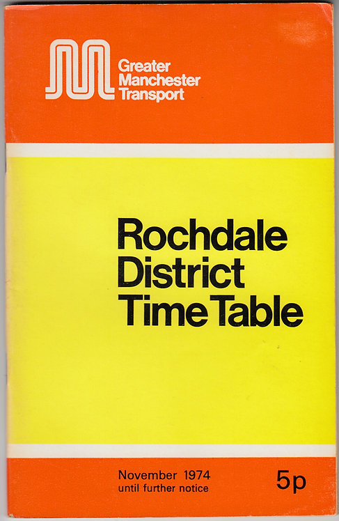 Greater Manchester Transport Timetable - Rochdale - November 1974