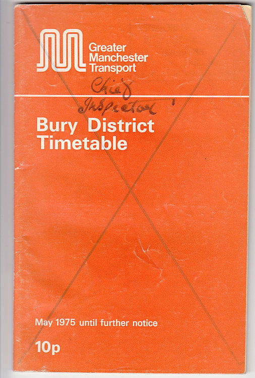 Greater Manchester Transport Timetable - Bury - May 1975
