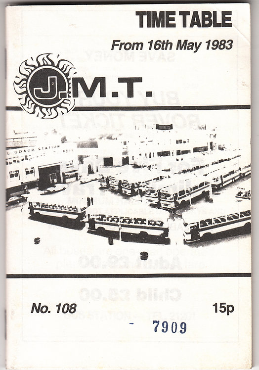 JMT Jersey Bus Timetable - May 1983
