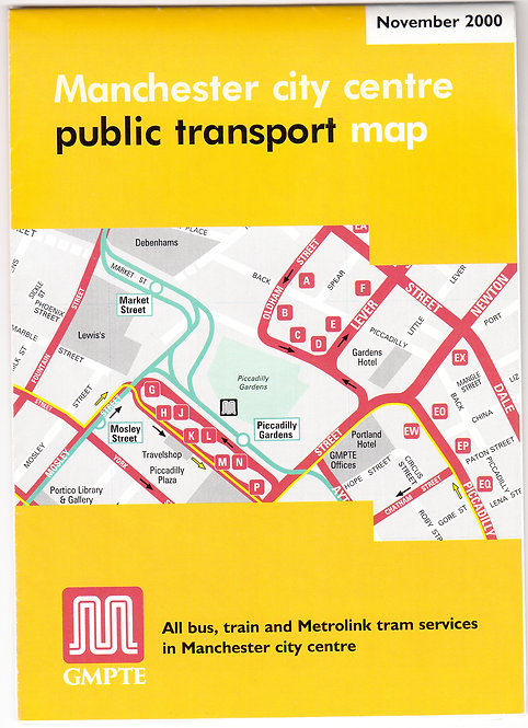 Greater Manchester PTE - city centre map - November 2000