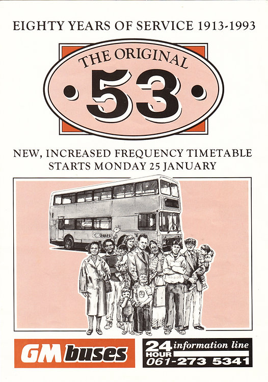 Bus Timetable Leaflet - GM Buses service 53