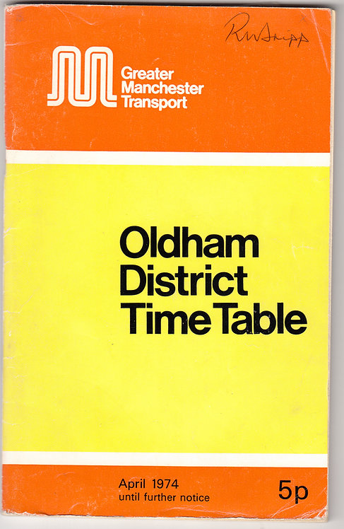 Greater Manchester Transport Timetable - Oldham - April 1974