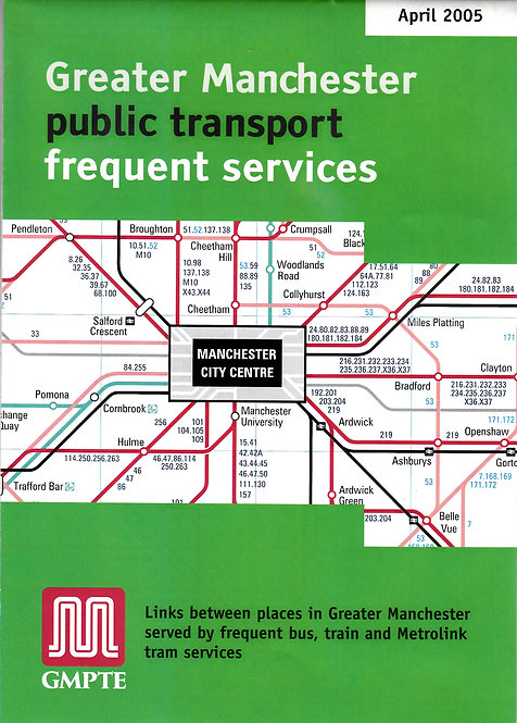Greater Manchester PTE - frequent services map - April 2005