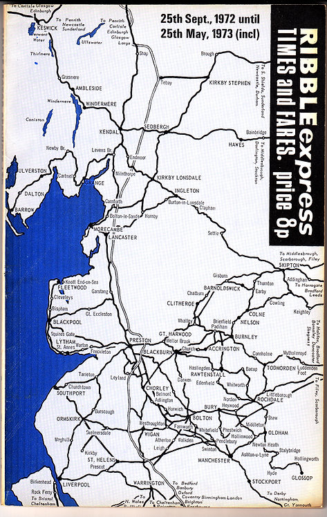 Ribble Timetable - Express Services - September 1972