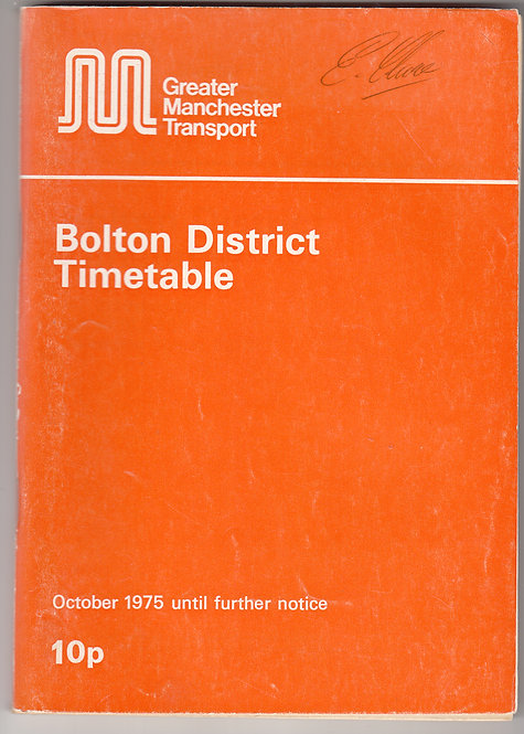 Greater Manchester Transport Timetable - Bolton - October 1975