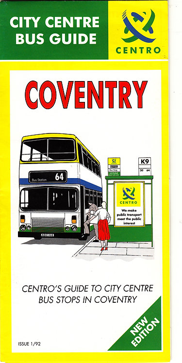 Centro - Coventry Bus Map - January 1992